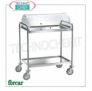 Trolleys for desserts and cheeses Trolley for sweets, cheeses and appetizers in stainless steel, FORCAR brand, with 2 printed shelves and semi-circular plexiglass dome, COMPLETE RANGE