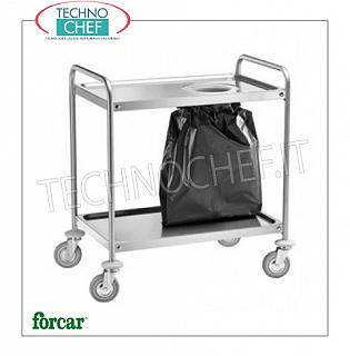 Stainless steel scraping trolleys Stainless steel scraper trolley, FORCAR brand, with 1 hole for waste bag, size mm.890x590x930h