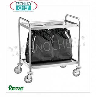 Stainless steel scraping trolleys Trolley with 2 knockout holes, FORCAR brand, complete with stop ring and lower shelf, dim.mm.1090x590x930h