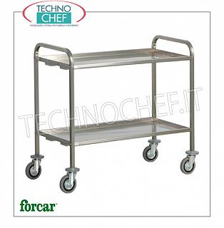 Service trolleys in stainless steel Heavy transport trolley in stainless steel, brand FORCAR, with 2 folded tops with omega reinforcement, max. Load 200 Kg, dim.mm.1110x660x980h