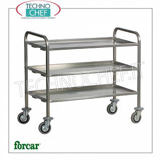 Service trolleys in stainless steel Heavy transport trolley in stainless steel, brand FORCAR, with 3 folded tops with omega reinforcement, max capacity 200 kg, dim.mm.1110x660x980h