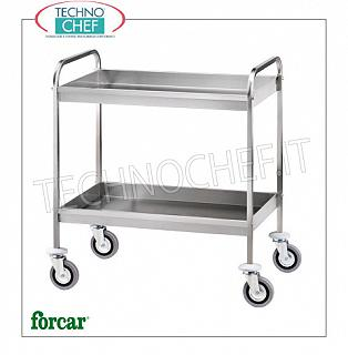 Stainless steel scraping trolleys Stainless steel trolley, FORCAR brand, with 2 soundproof tanks, h 65 mm, total capacity 80 Kg, dim.mm.910x570x970h