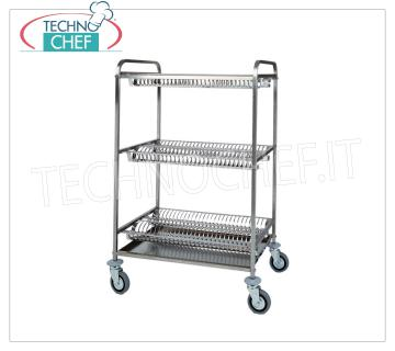 DRAWER CART / GLASSES with 3 PLANS, with STAINLESS STEEL GRILLS for dishes and STAINLESS STEEL GLAZING DRAWER CART / GLASSES with 3 PLANS, with 2 shelves with STAINLESS STEEL GRILLS for dishes and 1 shelf with STAINLESS STEEL cup holder, 4 swivel wheels, dim.mm.1100x620x1340h