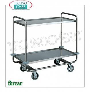 Service trolleys in stainless steel Service trolley in stainless steel, brand FORCAR, with 2 printed shelves, max. Load 150 Kg, dim.mm.1090x590x1000h