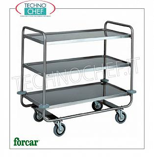 Service trolleys in stainless steel Stainless steel service trolley, brand FORCAR, with 3 printed shelves, max. Load 150 kg, dim.mm.1090x590x1000h