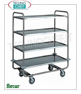 Service trolleys in stainless steel Stainless steel service trolley, brand FORCAR, with 4 printed shelves, max. Load 150 Kg, dim.mm.1090x590x1300h