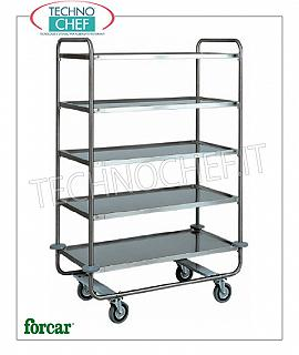 Service trolleys in stainless steel Service cart in stainless steel, brand FORCAR, with 5 printed shelves, max. Load 150 Kg, dim.mm.1090x590x1600h