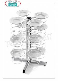 Ready-to-eat plate trolleys BANK HOLDER TROLLEY, in version with CHROME GRILLS for a MAXIMUM OF 48 PLATES with diameter from 180 to 230 mm, dim.mm.600x600x830h
