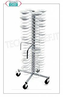 Ready-to-eat plate trolleys PLASTIFIED STEEL TROLLEY TROLLEY, in version with CHROME GRILLS for a MAXIMUM of 96 PLATES with diameter from 180 to 230 mm, dim.mm.600x600x1730h