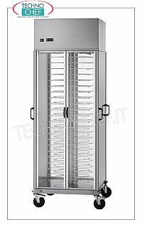 Refrigerated plate trolleys, capacity 88 plates, pitch 60 mm REFRIGERATED CONTAINER TROLLEY in version with PAINTED GRID FOR PAINTED 60 mm pitch for a MAXIMUM of 88 PLATES with DIAMETER from 180 to 230 mm, ventilated refrigeration, temperature + 8 ° / + 12 ° C, V.230 / 1, Kw 0.46, dim.mm.750x780x2030h