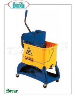 Floor cleaning trolleys with split bucket and wringer Wringer trolley, FORCAR brand, complete with bucket with divider, wringer and raising structure for cleaning products, dim.mm.550x270x870h