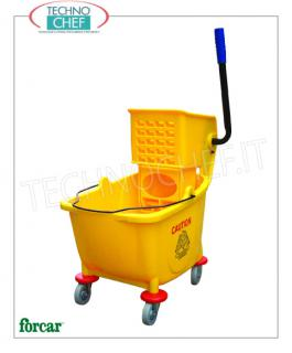 Floor cleaning carts with split bucket and wringer Wringer trolley, brand FORCAR, complete with bucket with divider and wringer, dim.mm.600x400x920h