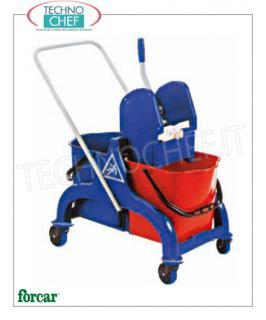 Floor cleaning trolley with Wringer and 2 Buckets Wringer trolley, brand FORCAR, complete with 2 25 lt buckets, plastic wringer, reversible handle and 4 swivel wheels, dim.mm.690x420x850h