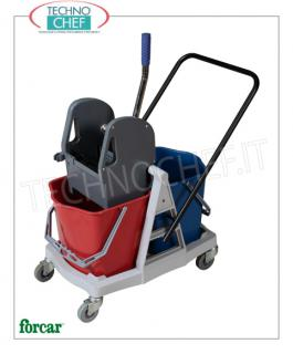 Floor cleaning trolley with 2-Bucket Wringer Wringer trolley, brand FORCAR, complete with 2 25 lt buckets, plastic wringer, reversible handle and 4 swivel wheels, dim.mm.710x430x930h