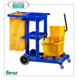 Cleaning carts with 1 bucket, wringer, bag holder and shelves Multi-purpose trolley, brand FORCAR, complete with bucket with divider and plastic wringer, bag holder with sturdy 120-liter bag and tool-holder connections, dim.mm.1140x510x980h