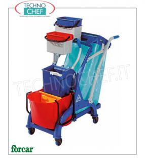 Cleaning carts with 1 bucket, wringer and bag holder Multi-purpose trolley, brand FORCAR, complete with 28 l bucket with divider, plastic wringer, 120 lt bag holder, 2 x 4 buckets and pallet hook, size 1070x560x1110h