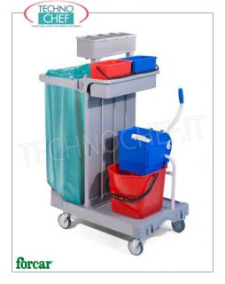 Cleaning carts with 1 bucket, wringer and bag holder Multi-purpose trolley, brand FORCAR, complete with bag holder, 15 lt plastic bucket, wringer, medium box, 2 lt.4 buckets, bottle holder basket and broom hooks, size mm.920x550x1240h