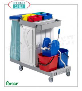 Cleaning trolley with 2 buckets, wringer, bag holder and central compartment Multi-purpose trolley, brand FORCAR, complete with bag holder, 2 plastic buckets of 15 lt, wringer, medium box, 4 buckets of 4, bottle holder basket, broom hooks and central compartment with sliding drawer, dim.mm.1330x680x1240h