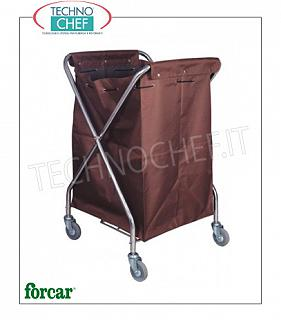 Laundry trolleys Foldable linen trolley, brand FORCAR, with canvas bag and swivel wheels, dim.mm.620x640x1000h