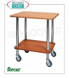 Gueridon trolleys Gueridon trolley with stainless steel tube frame, FORCAR brand, 2 shelves in NOCE melamine, 4 pivoting wheels, dim.mm.700x500x780h