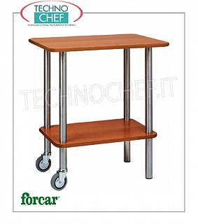 Gueridon trolleys Gueridon trolley with stainless steel tube frame, FORCAR brand, 2 shelves in NOCE melamine, 2 pivoting wheels, dim.mm.700x500x780h