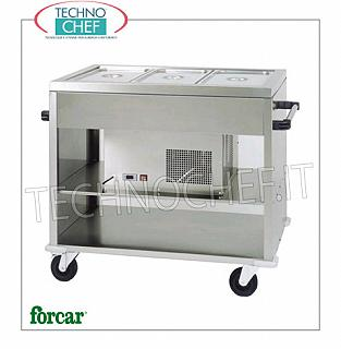 Refrigerated display stands FORCAR brand stainless steel refrigerated trolley, for 3 Gastro-Norm 1/1 containers (not included) or submultiples, temperature + 2 ° / + 10 ° C, V.230 / 1, Kw.0.25, dim.mm. 1240x720x940h