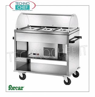 Refrigerated display stands FORCAR brand stainless steel refrigerated trolley, for 3 Gastro-Norm 1/1 containers (excluded) or submultiples, complete with plexiglass dome, temperature -5 ° / + 5 ° C, V.230 / 1, Kw.0, 25, dim.mm.1240x720x1260h