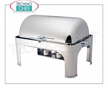 Chafing dish / Warmers Chafing dish in polished stainless steel for 1 GN 1/1 or submersible basin, bain-marie heating with alcohol burners, version with retractable roll-top cover 180 °, dim.mm.650x470x450h