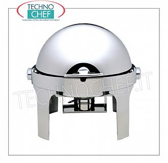 Chafing dish / Warmers Chafing stainless steel polished stainless steel dish for 1 basin diam.mm.350x60h, bain-marie heating with alcohol burners, version with retractable lid roll-top 180 °, dim.mm.500x520x450h