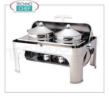 Food warmer / Chafing dish Chafing dish in polished stainless steel for 2 pots of 4,6 l each, bain-marie heating with alcohol burners, version with retractable sliding lid 180 ° roll-top, dim.mm.650x470x450h