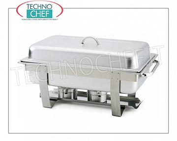 Chafing dish / Warmers Chafing stainless steel dish for 1 GN 1/1 or submarine basin, water boiler with alcohol burners, version with rectangular lid and side handles, dim.mm.670x370x410h