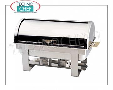 Food warmer / Chafing dish Polished stainless steel chafing dish for 1 GN 1/1 basin or submultiples, bain-marie heating with alcohol burners, version with 90 ° roll-top sliding cover and side handles, dim.mm.650x470x450h