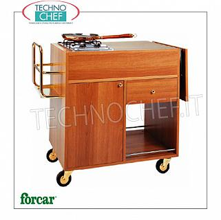 Forcar - FLAMBE TROLLEY WALNUT color 1 Fire, mod. CF1200 Flambe trolley in melamine wood WALNUT, with 1 FIRE, compartment with hinged door, 1 drawer and lower shelf, dim.mm.1050x580x850h