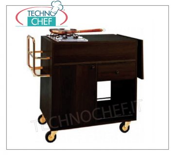 Forcar - FLAMBE TROLLEY WENGE color, 1 Fire, mod. CF1200W Flambe cart in WENGE melamine-faced wood, with 1 FIRE, Bottle holder, Side flap, compartment with hinged door, 1 drawer and lower shelf, dim.mm.1050x580x850h