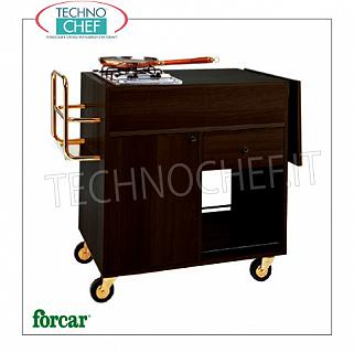 Forcar - FLAMBE TROLLEY 'WENGE color', 2 Burners, Mod.CF1201W WENGE flambe cart 'in melamine wood, with 2 BURNERS, Bottle holder, Side Flap, compartment below with hinged door, 1 drawer and lower shelf, dim.mm.1050x580x850h