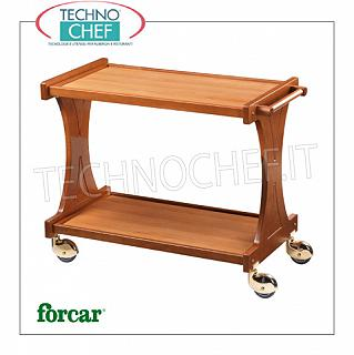Wooden service trolleys Service trolley made of WALNUT plywood, FORCAR brand, 2 laminate shelves, single-body backrests, 4 multidirectional wheels, dim.mm.860x550x850h