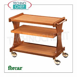 Wooden service trolleys FORCAR brand service trolley in WALNUT plywood, 3 laminate shelves, single-body backrests, 4 multidirectional wheels, dim.mm.860x550x850h