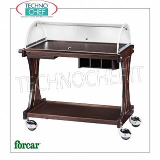 Trolleys for desserts and wooden cheeses Trolley for sweets, cheeses and appetizers in WENGE 'wood, FORCAR brand, complete with semicircular dome open on the 2 sides, optional available: cymbal stand, cutlery drawer, etc., dim.mm.860x550x1100h