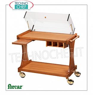 Trolleys for desserts and wooden cheeses Trolley for sweets, cheeses and appetizers in wood color NOCE, FORCAR brand, complete with plexiglass lifting dome, available options: cymbal stand, cutlery drawer etc. .., dim.mm.860x550x950h