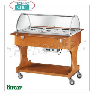 FORCAR - Technochef, Warm trolley in bain-marie, 3 GN 1/1 containers, Mod.CL2777 Warm display cabinet in bain-marie in NOCE wood, brand FORCAR, complete with plexiglass dome, 2 support shelves and lower shelf, capacity 3 GN 1/1 containers (excluded), temperature + 30 ° / + 90 ° C, V.230 / 1, Kw.2.00, dim.mm.1110x1120x1250h