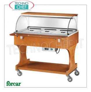 FORCAR - Technochef, Warm trolley in bain-marie, 3 GN 1/1 containers, Mod.CL2778 Warm display cabinet in bain-marie in NOCE-colored wood, brand FORCAR, complete with plexiglass dome, 2 support shelves and lower shelf, capacity 3 GN 1/1 containers (not included), temperature + 30 ° / + 90 ° C, V .230 / 1, Kw.2.00, dim.mm.1110x900x126