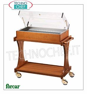 Refrigerated display trolleys Refrigerated trolley for desserts, cheeses and appetizers in WALNUT or WENGE color wood, brand FORCAR, complete with plexiglass dome, 8 eutectic plates and lower shelf, total capacity 50 Kg, dim.mm.1060x550x1080h