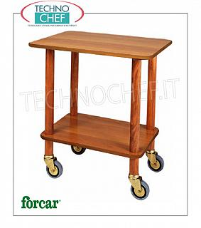 Gueridon trolleys Gueridon trolley with solid wood uprights, FORCAR brand, shelves in NOCE melamine, 4 swiveling wheels diam.95 mm brassed, dim.mm.700x500x780h
