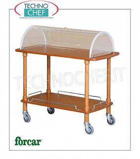 Trolleys for desserts and wooden cheeses Trolley for desserts, cheeses and hors d'oeuvres in solid wood with semi-circular plexiglass dome open on both sides, FORCAR brand, 2 floors in NOCE stained plywood, 4 swiveling wheels diam.95 mm, dim.mm.1100x550x1070h