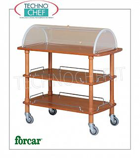 Trolleys for desserts and wooden cheeses Trolley for desserts, cheeses and hors d'oeuvres in solid wood with semi-circular plexiglass dome open on both sides, FORCAR brand, 3 floors in NOCE stained plywood, 4 swiveling wheels diam.95 mm, dim.mm.1100x550x1140h