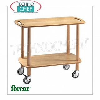 Gueridon trolleys Gueridon trolley in solid wood with lateral handles, FORCAR brand, 2 shelves in natural birch plywood, 4 swiveling wheels diam.95 mm, dim.mm.900x450x770h