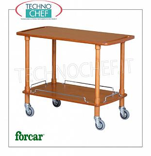 Wooden service carts Service cart in solid wood, FORCAR brand, 2 WALNUT stained plywood tops, 4 swivel wheels diam.95 mm, dim.mm.1100x550x820h