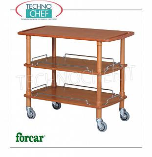 Wooden service carts Service cart in solid wood, FORCAR brand, 3 WALNUT stained plywood tops, 4 swivel wheels diam.95 mm, dim.mm.1100x550x890h