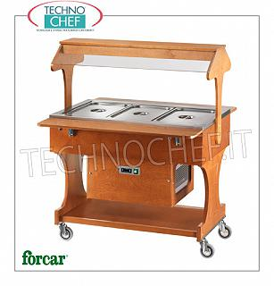 Refrigerated display stands Refrigerated display trolley in WALNUT or WENGE color, brand FORCAR, complete with plexiglass dome and support shelves, capacity 3 GN 1/1 (excluded), temp. + 2 ° / + 10 ° C, static refrigeration, V.230 / 1, Kw.0.25, dim.mm.1110x1120x1420h