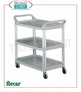 Plastic service trolleys Plastic service trolley, brand FORCAR, with 3 shelves and uprights in aluminum, dim.mm.850x430x950h